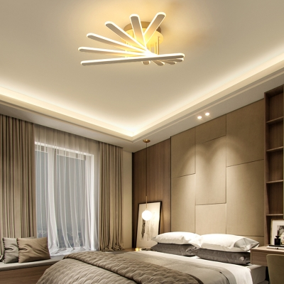 Nordic Style Bar Semi Flush Light Fixture Metal 4/6-LED Ceiling Light in Warm/White for Bedroom