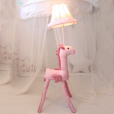 Pink Horse Base Floor Lamp with Bell Fabric Shade Girls Bedroom 1 Head Lighting Fixture