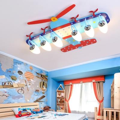 Prop Plane 4/6 Lights Flush Mount Modern Chrome Finish Glass Shade Ceiling Lamp for Kids