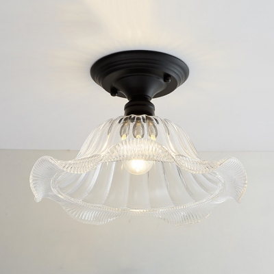 Textured Glass Flared Semi Flush Mount Retro Style Single Head Lighting Fixture in Matte Black for Staircase
