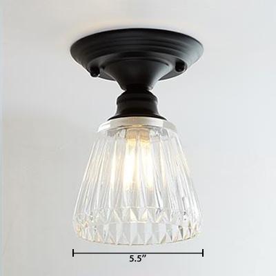 Textured Glass Tapered Semi Flush Light Vintage Industrial Single Light Mini Ceiling Fixture in Black