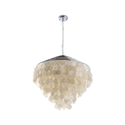 Tiered Fountain Chandelier with Shell Decoration Modern Chic 4 Lights Suspended Light in Chrome