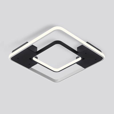 2 Square Ring Ceiling Lamp Minimalist Modern Metallic LED Flush Mount Light in Warm/White