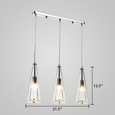 3 Lights Conical Pendant Lighting Modern Design Clear Glass Hanging Lamp in Chrome Finish