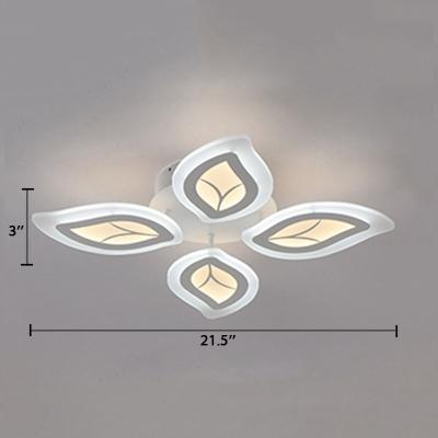 4/6 Lights Leaves Semi Flush Light Contemporary Acrylic LED Living Room Lighting in White