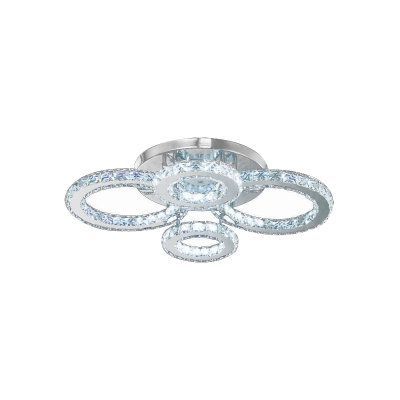 4 Halo Ring LED Ceiling Lamp Modern Design Decorative Crystal Semi Flush Light for Hotel Hall