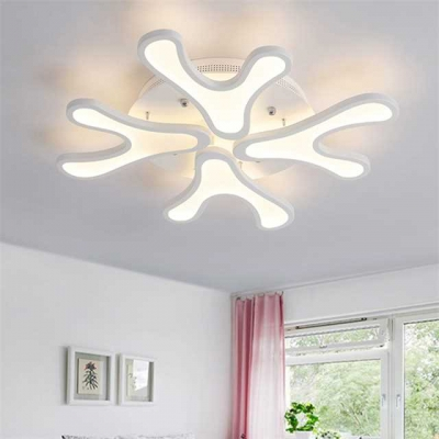 Acrylic Snowflake Ceiling Lamp Modern Fashion 4/6 Lights LED Semi Flush Light in White