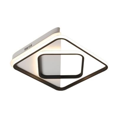 Black Border Flush Light with 2 Square Frame Designer Style Silicon Gel Ceiling Lamp in Warm/White