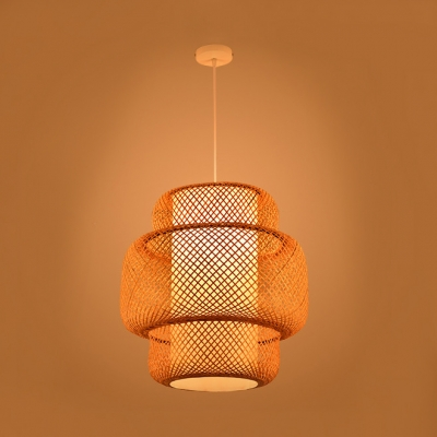 Chinese Style Rattan Suspension Light