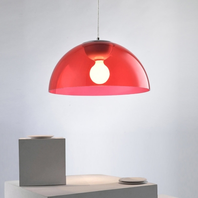 Dome Indoor Lighting Fixture Modernism Height Adjustable Red Acrylic Shade 1 Head Pendant Lamp for Corridor