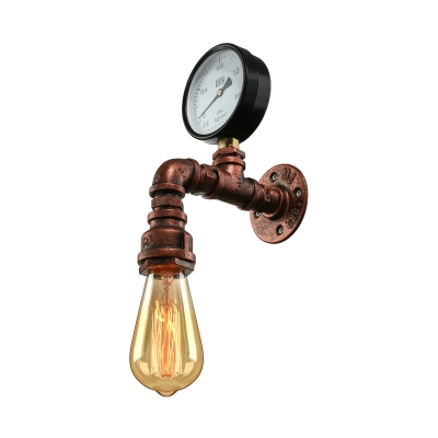 Industrial Aged Copper One Light Wall Sconce with Gauge HL430189 фото