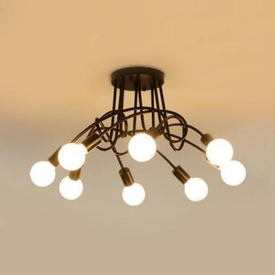 Matte Black Twist Arm Lighting Fixture Industrial Modernism Metallic 5/6/8 Lights Semi Flush Mount