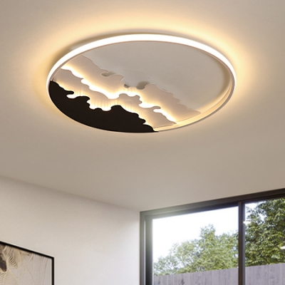 Metal Ring Ceiling Lamp Modernism LED Flushmount with Wave Design in Black and White