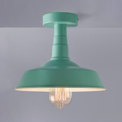 Mint Green Barn Semi Flushmount Modern Fashion Iron 1 Head Surface Mount Light for Kids Children