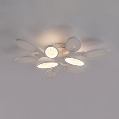 Multi Light Oval Semi Flushmount Minimalist Modern Acrylic LED Semi Flush Light in White