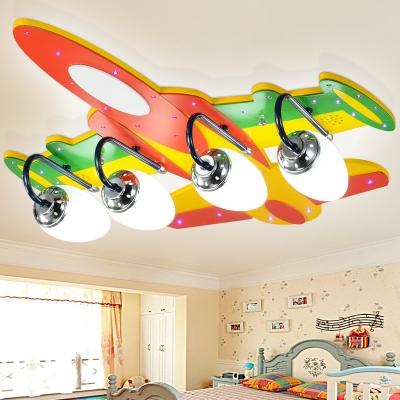 Multicolored Aircraft Lighting Fixture Modernism Frosted Glass Shade 4 Lights Semi Flush Mount Light