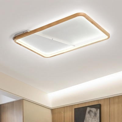 Rectangle Ceiling Light With Wooden Frame Minimalist Super Thin Led