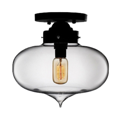Single Bulb Ovale Semi Flush Light Fixture Industrial Ceiling Fixture with Colorful Glass Shade for Restaurant