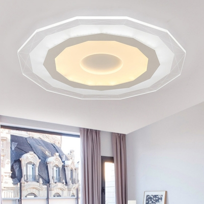 White Polygon LED Ceiling Fixture with Acrylic Shade Modernism Flush Mount for Dining Room