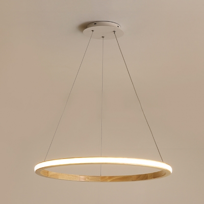 Wood Circle Hanging Light Fixture Nordic Style LED Suspension Light in Neutral for Sitting Room