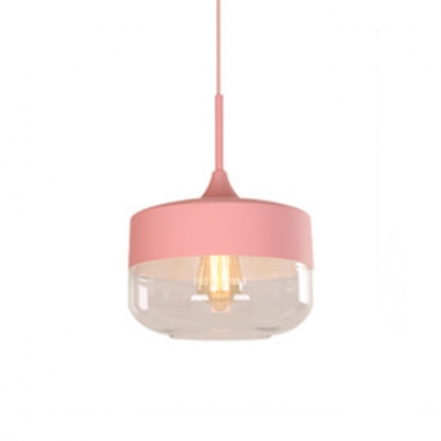 Cylinder/Drum Hanging Lamp Clear Glass Single Light Contemporary Pendant Light in Blue/Green/Yellow/Pink