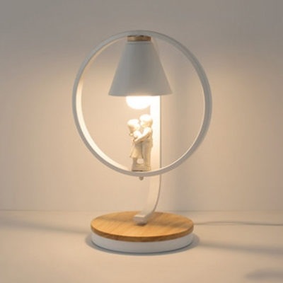 Conical 1 Light Table Lamp Nordic Style White Metal Standing Table Light For Boys Girls Bedroom Beautifulhalo Com