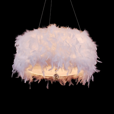 Drum Single Head Pendant Lamp with White Feather Modern Chic Decorative Hanging Lamp for Corridor