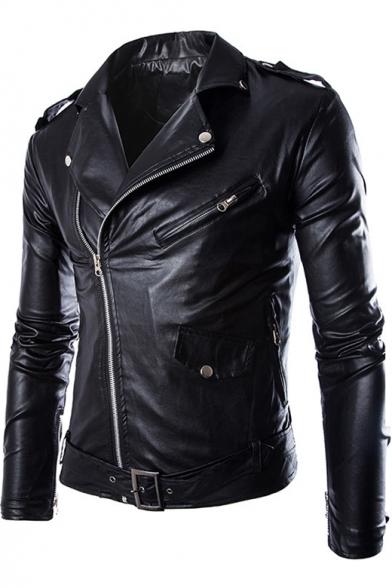 Fashion Black Slim-Fit Long Sleeve Zipper pockets Men's leather Moto Jacket