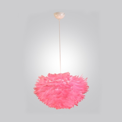 Pink Feather Suspended Light Modern Fashion Fabric Single Light Hanging Lamp for Children Bedroom