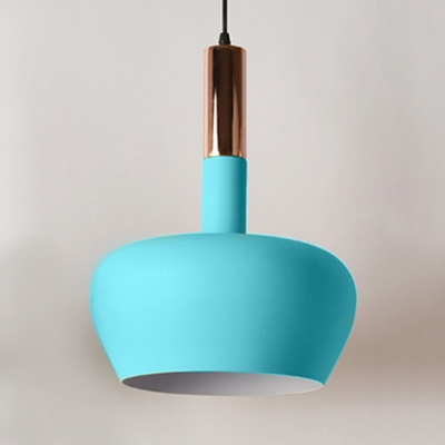 Macaron Nordic Domed Hanging Lamp with Metal Shade Single Pendant Light in Blue/Yellow/Pink for Kids