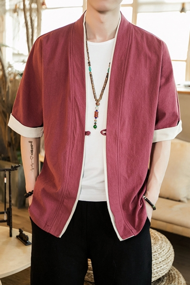 Chinese Style Men's Half Sleeve Solid Loose Linen Kimono Shirt Coat