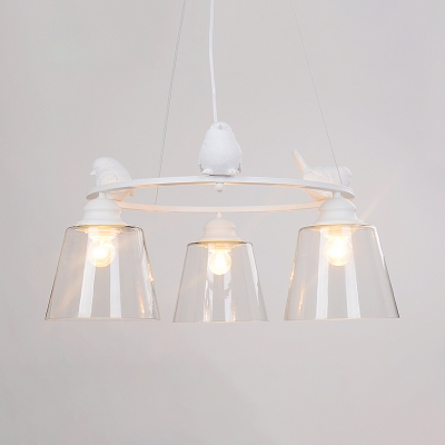 Clear Glass Halo Ring Hanging Light with Cone Shade Boys Girls Room 3/6 Lights Chandelier in White