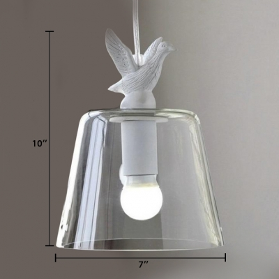Clear Glass Suspension Light with Tapered Shade White 1 Light Ceiling Pendant Light for Coffee Shop