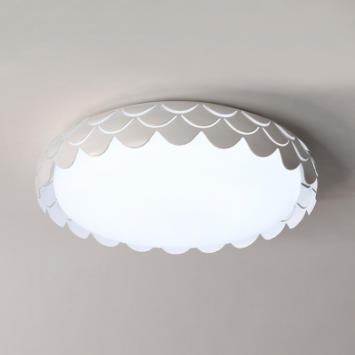 Fish Scale LED Flush Light with Drum Shape Nordic Sitting Room Metallic Ceiling Flush Mount in White
