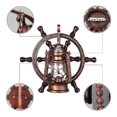 Industrial Nautical Wall Sconce with Lantern Style Metal Cage, Clear Glass Shade