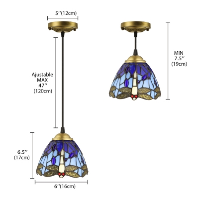 Tiffany Style Dome Pendant Light with Dragonfly Stained Glass Ceiling Light, 23.5
