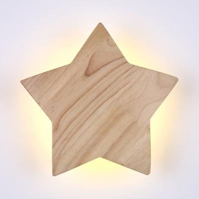 Wooden Star LED Wall Light Modern Simple Kindergarten Nursing Room Wall Mount Fixture