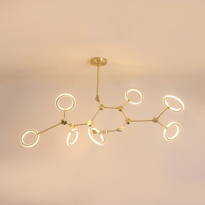 Plastic Looped Hanging Lamp Nordic Style 5/6/7 Lights Chandelier Lighting in Warm/White for Sitting Room