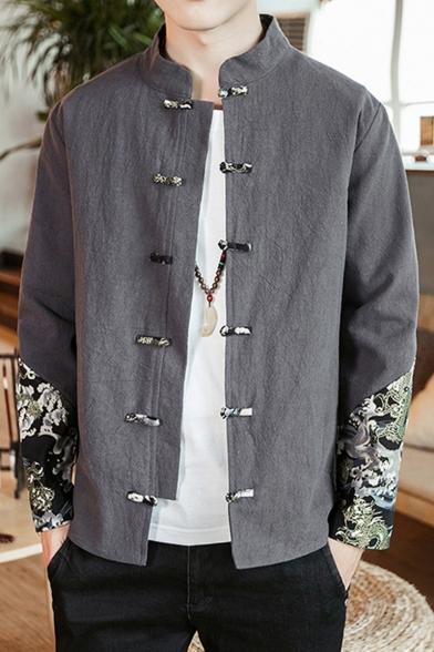 Retro Chinese Style Frog Button Dragon Printed Long Sleeve Stand Collar Linen Shirt Jacket for Men