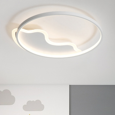 White Halo Ring Ceiling Light with Wavy Pattern Modern Chic Acrylic LED Flush Light for Hallway Corridor