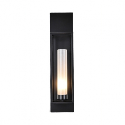 Tubed Wall Sconce with Rectangle Frame Minimalist Metallic 1 Head Wall Mount Light in Carbide Black