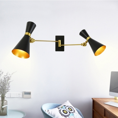 Swing Arm Wall Mount Fixture with Black/White Hourglass Shade Post Modern Metal 4 Lights Wall Light