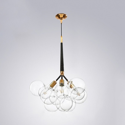 Cluster Chandelier Lamp with Clear Glass Shade Modernism 3/4/6 Lights Hanging Light in Brass