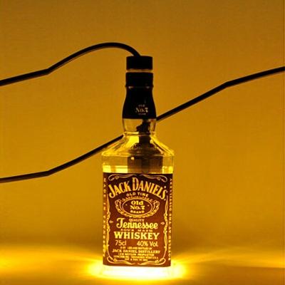 Industrial Pendant Light Whiskey Bottle Repurposed, Jack Daniels