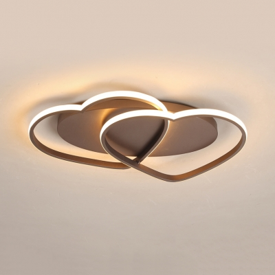 Metallic Heart Shape Ceiling Lamp Nordic Style Study Room LED Flush Mount in Coffee Brown