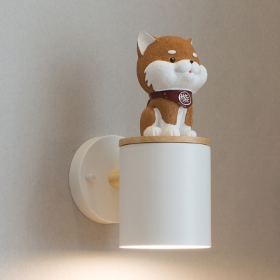 Single Light Cylinder Wall Light with Lovely Dog Decoration Kids Room Metal Sconce Light in White