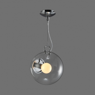 Clear Glass Orb Shade Pendant Lighting 1 Light Modern Hanging Light in Chrome