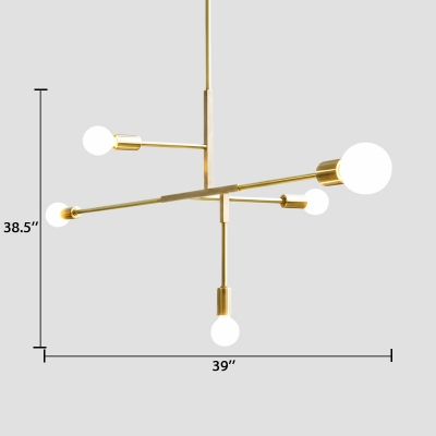 5 Lights Linear Chandelier Modern Chic Metal Hanging Light Fixture in Soft Gold for Living Room