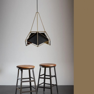 Minimalist Caged Suspension Light Metallic One Light Pendant Light in Soft Gold for Coffee Shop