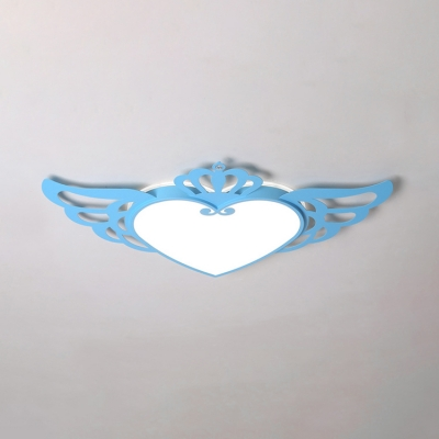 Angel Wing Surface Mount LED Light Blue/Pink Flush Light with Acrylic Shade for Amusement Park